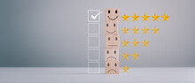 Feedback Rating And Positive Customer Review Experience, Service And Satisfaction, Wood Block With 1 To 5 Star Icon To Give Satisfaction In Service. Rating Very Impressed. Mental Health Assessment.