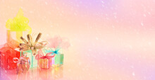 Horizontal Background Gifts Colors Snow Bows Ribbon Holiday Celebration Pink