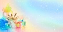 Horizontal Background Gifts Colors Snow Bows Ribbon Holiday Celebration Rainbow