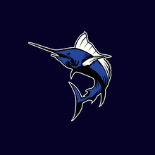 Blue Marlin Fish Sports Mascot With Aggressive Expression Vector Icon