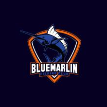 Blue Marlin Fish Sports Mascot Shield With Aggressive Expression Vector Icon