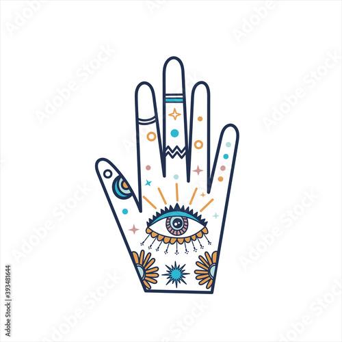 Stampa su Tela Line art vector illustration with enchantress hand