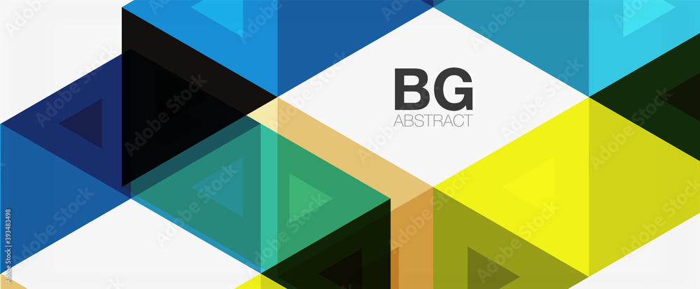 Fototapeta Mosaic triangle pattern abstract background for cover, banner, flyer and poster and other template
