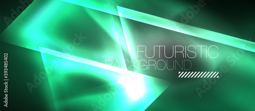 Fototapeta Neon geometric abstract background. Triangles with color glowing light effects in the dark. Vector illustration for covers, banners, flyers and posters and other obraz