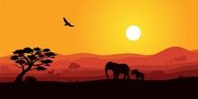 Safari Africa Sunset With Wild...