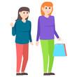 Friends Shopping Vector