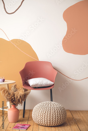 Fototapeta Interior of modern room with chair and table obraz