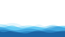 Blue Natural Water Ocean Wave Layer Vector Background.