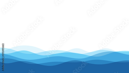 Papel de parede Blue natural water ocean wave layer vector background.