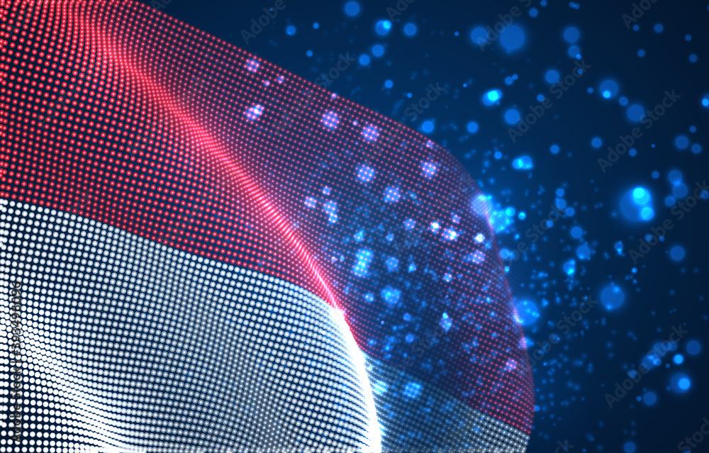 Fototapeta Vector bright glowing country flag of abstract dots. Monaco