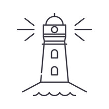 Lighthouse Icon, Linear Isolated Illustration, Thin Line Vector, Web Design Sign, Outline Concept Symbol With Editable Stroke On White Background.