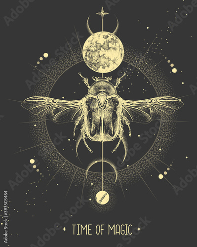Canvas-taulu Modern magic witchcraft card with moon and Flower chafer beetle