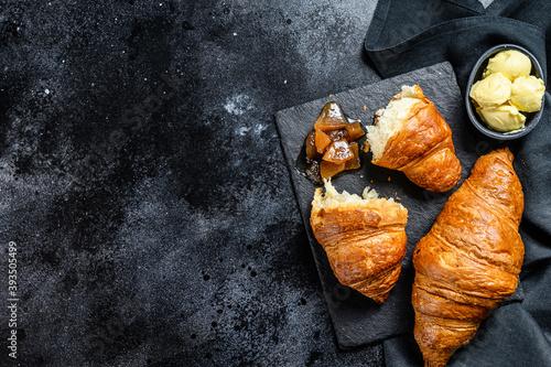 Fotografie, Obraz Homemade croissants with pear marmalade