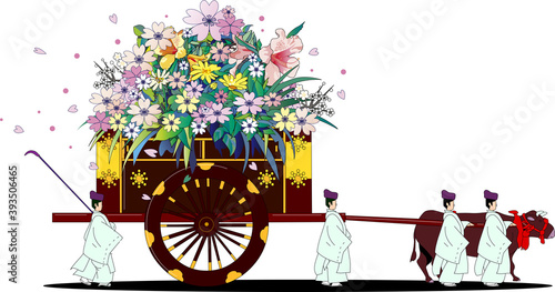 Fotografie, Obraz 日本の昔の貴族が乗る伝統的な花を積む牛車