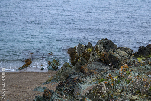 Fototapeta Rocks and sea. Coast of Ireland. Greystones.