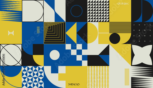 Abstract Colorful Vector Pattern Design With Simple Geometric Forms