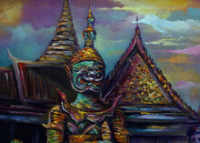 Art Painting Oil Color    Grand Palace And Wat Phra Keaw               Background From Thailand