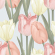 Floral seamless pattern, various tulip flowers and leaves on bright grey