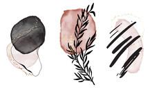 Acrylic Ink Print, Canvas Geometric Shapes. Black Pink Elegant Wedding Arrangement, Wamon Business Template. Social Media Highlighted Icon Set. Vector Logo