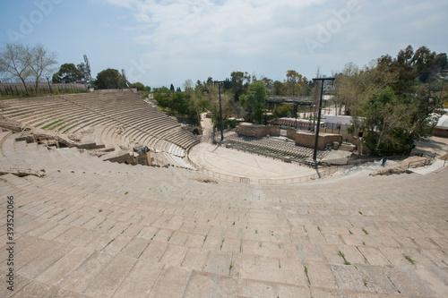 High angle view of roman amphitheater; Tunis; Tunisia Canvas