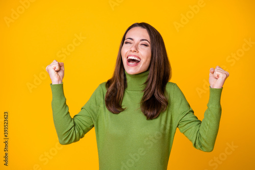Leinwand Poster Portrait of attractive dreamy successful lucky cheerful girl celebrating great n