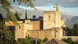 Alhambra palace on top of the hill 4K, Granada, Andalucia, Spain
