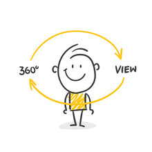 Strichfiguren / Strichmännchen: 360° View. (Nr. 576)