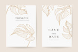 Minimal Floral wedding invitations vector template. Save the date, Thank you cards, RSVP, digital wedding anniversary cards . Electronic wedding card Vector illustration.