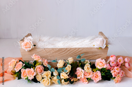 Colorful  digital background for newborn photography with flowers