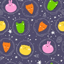 Seamless Pattern With Cartoon Animals In Space, Planet, Moon, Decor Elements On A Neutral Background. Colorful Vector For Kids, Flat Style, Hand Drawing. Baby Design For Fabric, Print, Nursery Wallpap