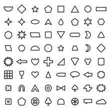Vector Outline Basic Shape Collection For Your Design. Polygonal Elements With Sharp And Rounded Edges