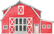 Watercolor Red Barn, Hand Painted Farmhouse Illustration.