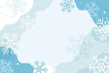 Abstract Winter Background With Fluid Organic Shapes And Snowflakes, Pastel Colors