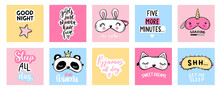 Sleep Masks And Quotes. Cute Eyemasks. Cards, Baby Room Posters, Pajama Party. Kawaii Illustration.