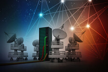 3d Illustration Satellite Connected Data Center Server With Satellite