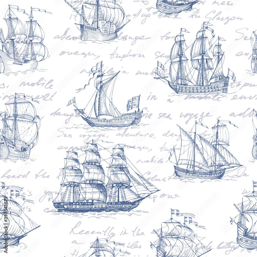 Fototapeta Old caravel, vintage sailboat. Hand drawn vector sketch. Detail of the old geographical maps of sea. Vector seamless pattern