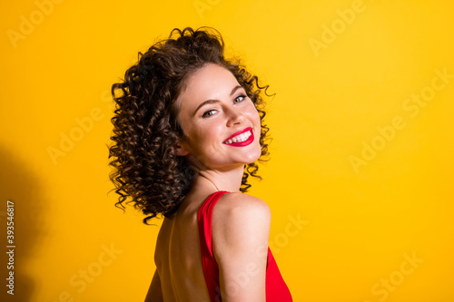 Profile photo of amazing gorgeous sweet beaming smile wavy lady have great time Canvas Print