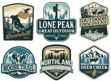 The Great Outdoor Discovery Adventure Labels And Patches Vector Collection