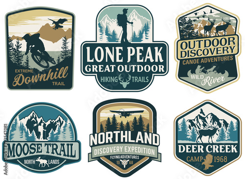 The great outdoor discovery adventure labels and patches vector collection Fotobehang