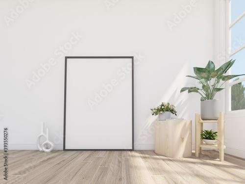 Fototapeta Empty picturer frame on the floor in cozy space. Interior frame mockup.3d rendering obraz na płótnie