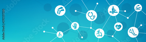 Sports medicine vector illustration. Concept with connected icons related to treatment of sports and exercise injury, fitness and rehabilitation.