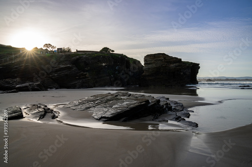 view of the coast and beaches near Playa de Catedrales in Galicia