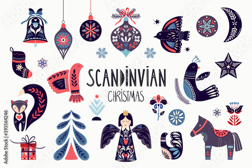 Scandinavian Christmas collection with ornamental traditional elements isolated on white