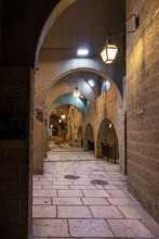 Empty  Deserted Due To Coronavirus Cardo Street In The Christian Part Of The Old City Of Jerusalem In Israel