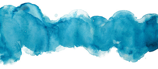 Watercolor stain stripe banner background element on white background.