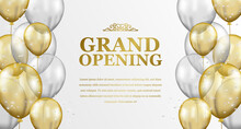 Grand Opening Elegant Luxury With Flying 3d Golden And Silver Transparent Balloon Party Celebration