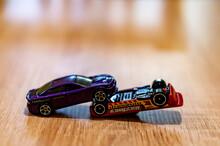 POZNAN, POLAND - Oct 13, 2020: Two Mattel Hot Wheels Cars