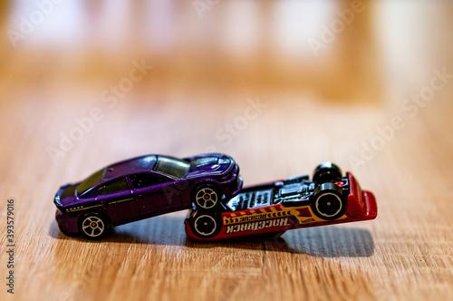 фотография POZNAN, POLAND - Oct 13, 2020: Two Mattel Hot Wheels cars