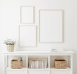 canvas print picture Poster frame mockup in white clear hallway interior, 3d render