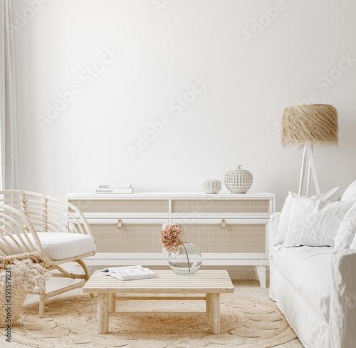 Fotografía Cozy home interior background, Coastal style living room, 3d render